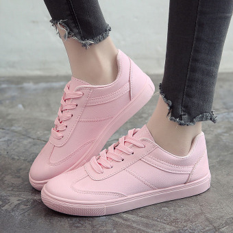 Versatile leather spring and summer Korean-style casual shoes BayMini shoes (Pink)