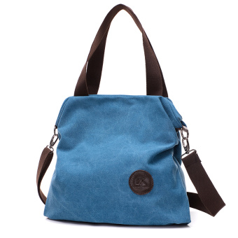 Versatile New style female shoulder bag casual canvas bag (Lake Blue)