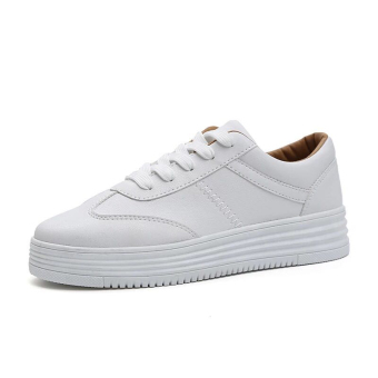 Versatile Plus velvet students fall shoes white shoes (Female Models + White Brown)