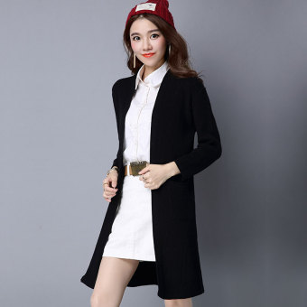 Versatile shawl mid-length cardigan Korean-style sweater (Black)