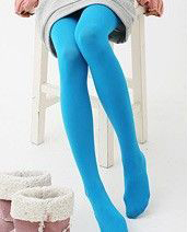 Versatile Swan Velvet color Spring and Autumn pantyhose (Blue green)