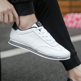 Versatile winter New style student trendy shoes casual shoes (Black and white)