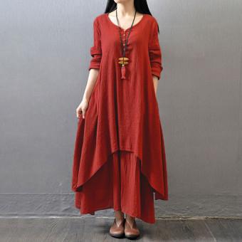 Vestidos 2016 Women Autumn Dress Fashion Plus Size Elegant Loose Full Sleeve V Neck Dress Casual Solid Cotton Linen Boho Long Maxi Dress Brick-Red - 3