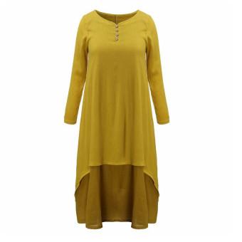 Vestidos 2016 Women Autumn Dress Fashion Plus Size Elegant Loose Full Sleeve V Neck Dress Casual Solid Cotton Linen Boho Long Maxi Dress Yellow - 2