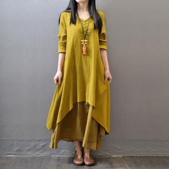 Vestidos 2016 Women Autumn Dress Fashion Plus Size Elegant Loose Full Sleeve V Neck Dress Casual Solid Cotton Linen Boho Long Maxi Dress Yellow - 3