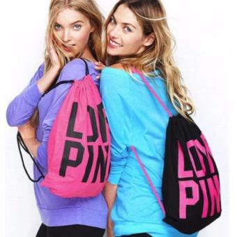Victoria's Secret Love Pink Drawstring Backpack (Neon) - 2