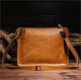 Vintage genuine crazy horse leather Men's messenger bag iPad tablets laptop bag shoulder bag handbag - intl