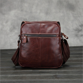 Vintage genuine crazy horse leather Men's shoulder bag cross body bag - intl - 3