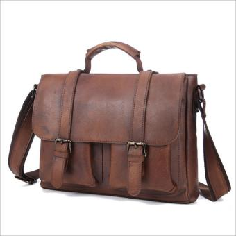 Vintage genuine crazy horse leather Unisex messenger bag laptop bag shoulder bag cross body bag - intl