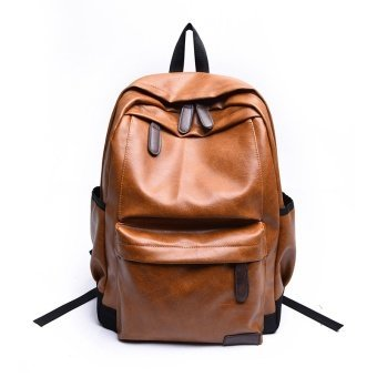 Vintage Leather Backpacks for Men and Women Solid Preppy Style BackPack Korea Style Unisex School Bags Casual Big Capicity Bags - intl
