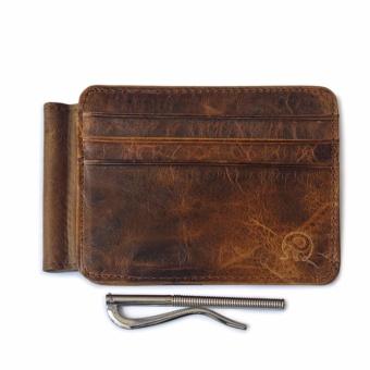 Vintage Money Clip Front Pocket Wallet Slim Minimalist Wallet RFIDBlocking Dark Brown - intl - 3