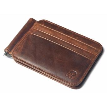 Vintage Money Clip Front Pocket Wallet Slim Minimalist Wallet RFIDBlocking Dark Brown - intl - 2