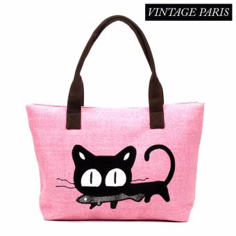 Vintage Paris Trendy Cute Cat Tote Bag (Pink)