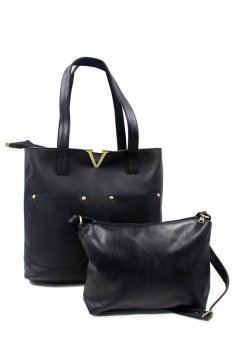 Vintage Paris Veron Leather Shoulder Bag (Black)