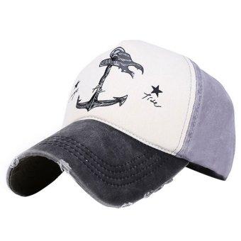 Vintage Pirate Ships Anchor Printed Cotton Unisex Trucker Hat Adjustable Baseball Cap Boys Girls Hip Hop Snapback Flat Hat Black+Gray