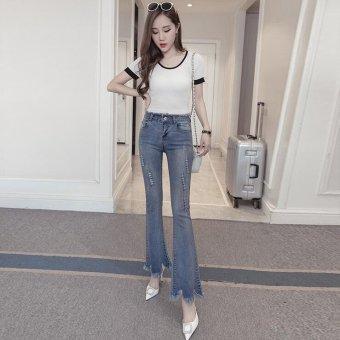 Vintage Skinny Flared Jeans For Women High Waist Bell Bottom JeansRipped Denim Pants -Light blue - Intl - 4