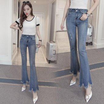 Vintage Skinny Flared Jeans For Women High Waist Bell Bottom JeansRipped Denim Pants -Light blue - Intl - 2