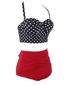 Vintage Style Retro Polka Dot High Waist Sexy Bikini Swimsuit (Intl) - 3