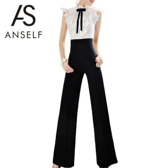 Vintage Women Loose Trousers Zipper High Waist Pocket Front Flare Wide Leg OL Career Pants Black