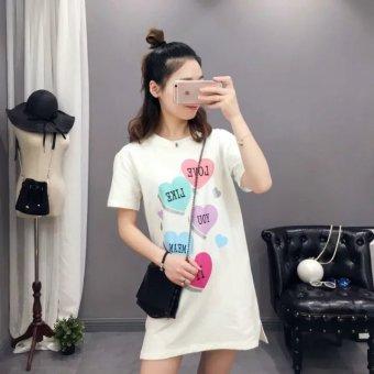 Waixinren Women's Korean-style Letter Print 100% Cotton Short Sleeve Dress
