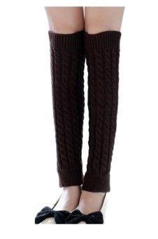 Warmers Knitted Crochet Long Socks (Coffee)