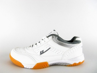 Warrior gum outsole non-slip wear and men and women athletic shoes table tennis ball shoes (And white gray)