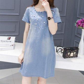 Washing Denim Dress Beading Short Sleeve Jeans Dresses (9 SizeS-5XL) - intl - 2