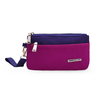 Waterproof canvas large capacity men and women size bag women's long wallet (Light purple color)