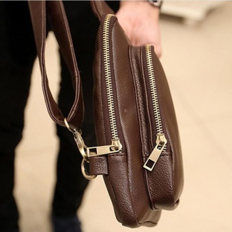Waterproof Crossbody Bags Shoulder Bags for Men PU Leather Chest Sling Pack One Single Shoulder Man Casual Travel Messenger Bag ( Coffee )17x3x24cm - intl - 5