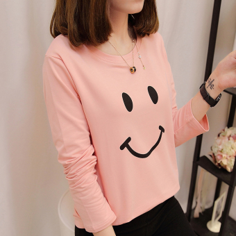 White female heattech long-sleeved t-shirt base shirt (Pink)