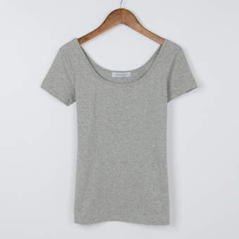 White female short-sleeved slim fit round neck low collar Top T-shirt (Gray)