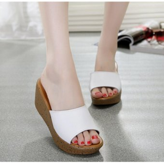 (White) New High Quality Women Wedge Casual slippers Summer High Heel Flip Flop Lady's Sandals Fashion shoes - intl - 2
