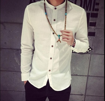 White shirt, male, long-sleeved, pure color, popular, men's clothing, collar, flax, cultivate one's morality, big yards, cotton and linen, thin section, leisure and shirts - intl
