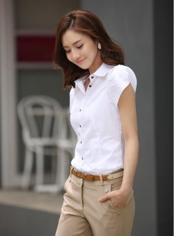 White Shirt Women OL Slim Short Sleeve Chiffon Blouse Office LadiesWork Wear Plus Size Top - intl - 3