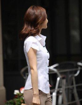 White Shirt Women OL Slim Short Sleeve Chiffon Blouse Office LadiesWork Wear Plus Size Top - intl - 4