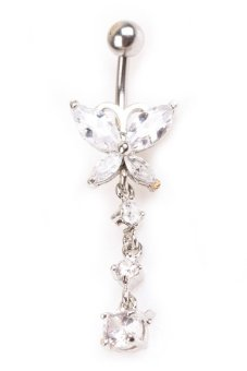 White Stainless Steel Crystal Dangle Butterfly Belly Navel RingCurved White Price Philippines