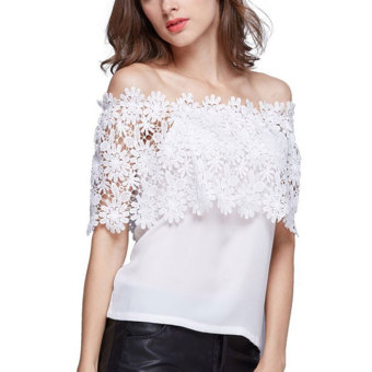 Whyus Women Chiffon Lace Off Shoulder Tops Blouse Shirts(White)