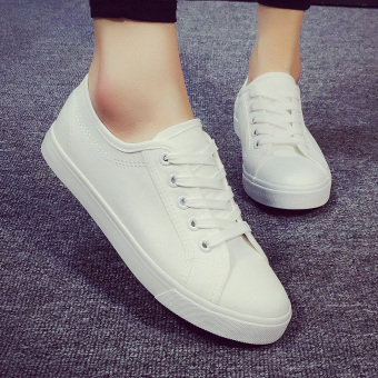 Wild breathable flat student shoes white shoes (White)
