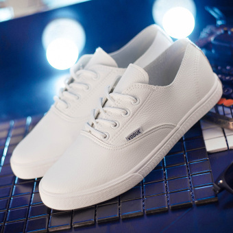 Wild leather female New style canvas shoes white shoes (Men's + Men's white)