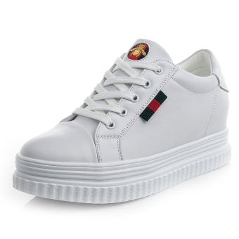 Wild leather female New style Korean-style slope with shoes white shoes (Small bee--white)