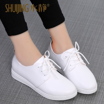 Wild leather flat elevator shoes white shoes (White)