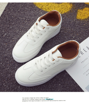 Wild leather solid color women shoes white shoes (Brown)