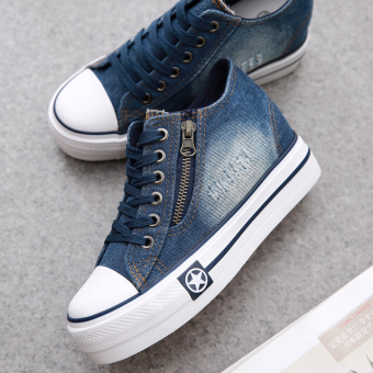 Wild Spring and Autumn New style Women's denim casual shoes (Dark blue color)