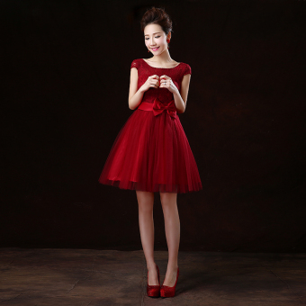 Wine red color wedding banquet performance dress wedding dress (Wine red color lace A-line shoulder)