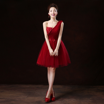Wine red color wedding banquet performance dress wedding dress (Wine red color shoulder flowers version2)