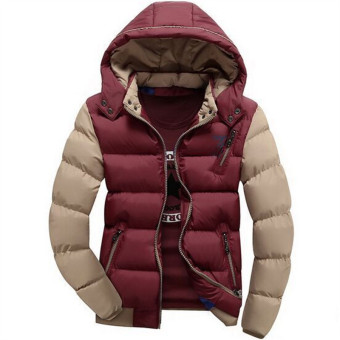 Wine Red New Arrived Casual Ultralight Mens Down Jackets HoodedAutumn & Winter Jacket Men Splice Light Weight Down ParkasJacket Men Overcoats - intl
