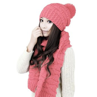Winter Women Warm Scarf Wrap Hat Set Knitted Knitting SkullcapsPink - Intl