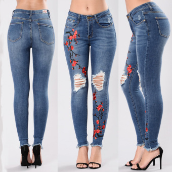 Wish Shishang cowboy embroidered ultra-stretch women's pants