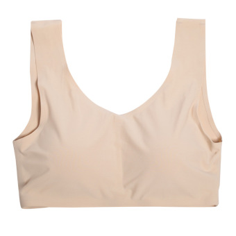 With a chest Pad No rims underwear traceless boob tube top (Beige)