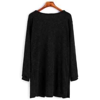 Woman Sweater Pocket Knit Cardigan Jacket-Black - intl - 4